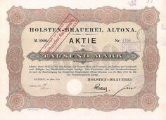 Holsten-Brauerei, Altona Aktie 1000 M 1918 umgestellt auf RM 400.-