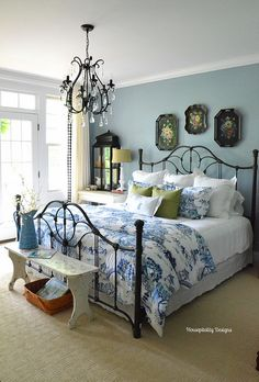 Neutral Farmhouse Master Bedroom Makeover Before After . Home Tour Saw Nail And Paint. Ideas For Organizing Refreshing Your Bedroom For Spring . Home and Family Shabby Chic Bedrooms, Bedroom Vintage, Guest Bedrooms, Cottage Bedrooms, Blue Bedroom Walls, Blue Rooms, Blue Walls, Yellow Bedrooms, Bedroom Colors