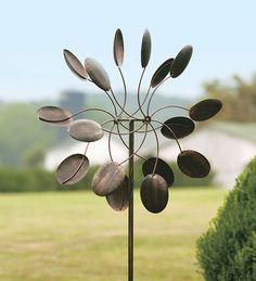 Steel Windmill Wind Spinner With Antique Bronze Finish, plowhearth.com - love this except for the 90 pricetag