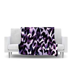 "Ebi Emporium ""Wild at Heart - Purple"" Lavender Fleece Throw Blanket"