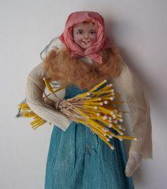 Old Spun Cotton Crepe Paper Farm Girl Figure Christmas Ornament | eBay