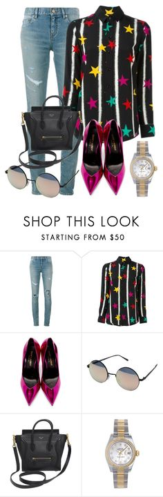 """""""Sin título #3227"""" by greciavalentino ❤ liked on Polyvore featuring Yves Saint Laurent, Quay, CÉLINE and Rolex"""