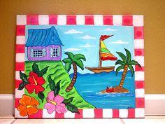 Easy Canvas Painting Ideas | Tropical Beach ocean sea painting kids wall art canvas nursery ...