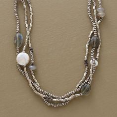 """MOONLIGHT SONATA NECKLACE--Handcrafted tri-strand necklace is a lyrical combination of moonstone, labradorite, freshwater pearls and coin pearls set against faceted sterling silver beads. Lobster clasp. Exclusive. 16""""L."""