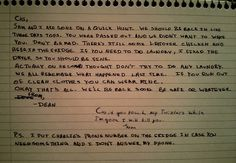 Cas wakes up to an empty bunker and finds this note on the kitchen table. [This is the cutest thing. Every detail.]