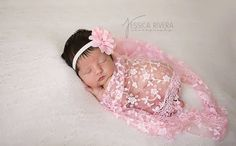Pink Fringe Swaddle Wrap with Pink Chiffon and by LilMissSweetPea