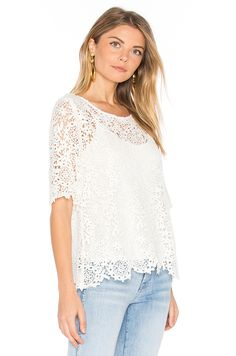 Velvet by Graham & Spencer Colleen Lace Top in White | REVOLVE