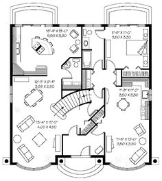 Like this central stair case  Floor Plan