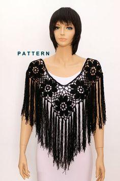 Crochet shawl pattern Crochet poncho pattern Fringe por etty2504