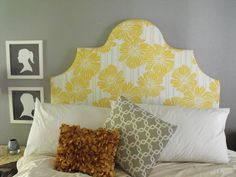 Simple DIY Upholstered Headboards from White Clothe: Fancy Yellow Floral Headboard Design At Bedroom Wth White Bedding And Abstract Patterne. Headboard Shapes, Faux Headboard, Antique Headboard, Cushion Headboard, Bed Frame And Headboard, Headboard Designs, Diy Headboards, Headboard Ideas, Upholstered Headboards