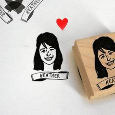 Personalized gift for her Custom stamp portrait / self ink wood block / mothers' day cards face him her mail stationery birthday bridesmaids