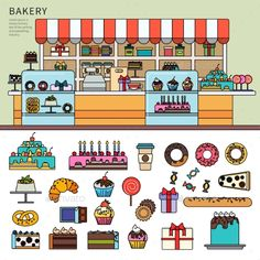 Sweet Confectionery in the Bakery by mountainbrothers Thin line flat design of the bakery with pastry. Bakery with different cakes and candies on the counter, goodies, cakes, doughnuts Greeting Card Storage, Greeting Cards, Cute Easy Drawings, Different Cakes, Ice Cream Party, Confectionery, Flat Design, Typography Design, Paper Dolls