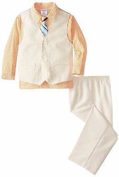 Outfits and Sets 156790: New Izod Boys Tan And Orange Melon 4Pc Size 5 Check Spring Vest Suit And Tie Beige -> BUY IT NOW ONLY: $36.9 on eBay!