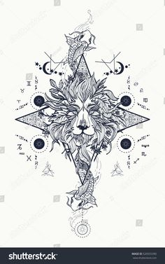 Mystic lion and carp, medieval astrological symbols, occult tattoo… – Be Aware of Astrology Occult Tattoo, Occult Art, Occult Symbols, Rasta Tattoo, Lion Head Tattoos, Tatoos, Witchy Wallpaper, Planet Tattoos, Universe Tattoo