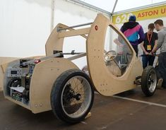 "A group of Aston University students have created this hydrogen powered ""eco car"" that is made of cardboard and plywood which just won Shell's Eco-Design Award."