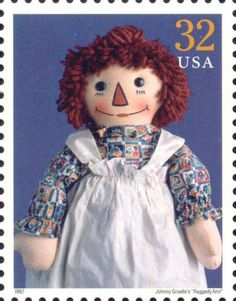 The United States Post Office issued a Raggedy Ann stamp on July 1997 as one of the 15 Classic American Doll stamps in Anaheim, California. Commemorative Stamps, Postage Stamp Art, Raggedy Ann And Andy, Barbie, Stamp Collecting, My Stamp, Beautiful Dolls, First Day Covers, Doll Clothes