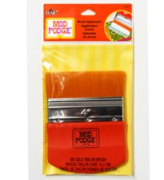 "Mod Podge ® Brush Applicator, 4"". One-of-a-kind 4"" wide big brush is ideal for furniture, canvases, all big ideas! Gold talon bristles apply any Mod Podge formula smoothly, evenly, without brush marks. Durable, stainless steel ferrule."