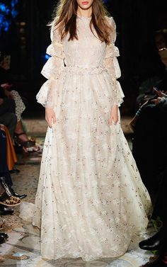 Embroidered tulle long-sleeve gown by Luisa Beccaria