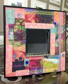 One o a Kind Decoupage Mirror--Funky and Colorful by BethNadlerArt, $54.00
