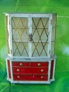 Vintage Dollhouse furniture,Ideal Petite Princess Fantasy China Cabinet 1964. $12.95, via Etsy.