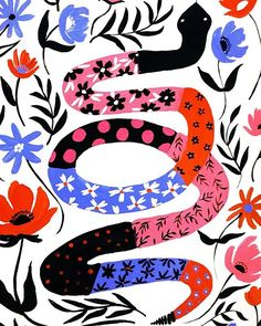 ❤️ | #illustration #painting #snake #floralprint #folkart