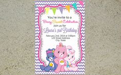 Printable Care Bears Birthday Invitation Care Bear by Yolishop03