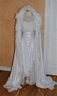 inspiration for Jadis' costume...love the feathers on the cape