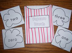 Popcorn Word Cards- colour, number and sight word cards to store inside the bag