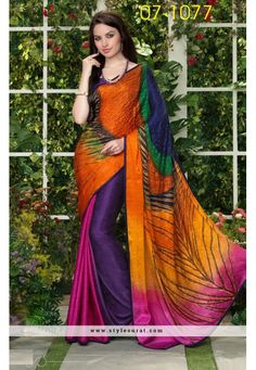 Alluring Multicolor Party Wear Printed Saree