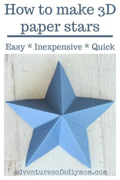 How to Make 3 dimensional paper stars - and easy, inexpensive and quick paper craft project. Folded Paper Stars, 3d Paper Star, Paper Folding Crafts, Diy Paper, Paper Crafts, Paper Art, Christmas Crafts For Kids To Make, Fun Crafts For Kids, Origami Instructions