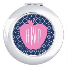 Pink Apple Navy Quatrefoil Monogram Teacher Compact Mirror from The Pink Schoolhouse