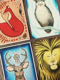 Set of 4 High Quality Art Postcards, Spirit Animals (Fox, Owl, Deer, Lion)