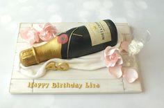 Bottle of Moet - Cake by Louise Jackson Cake Design