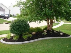 43 Best Curb Appeal Landscape Ideas To Enhance Your Home Beauty — Fres Hoom Front Yard Garden Design, Front House Landscaping, Landscaping Around Trees, Front Garden Landscape, Landscape Curbing, Lawn And Landscape, Outdoor Landscaping, Lawn And Garden, Outdoor Gardens