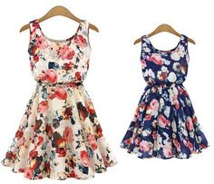 2015 Dresses Beautiful Femininas Vestidos Fashion Flower Printed Casual Vest Chiffon Dress Women Summer Dress 520cf4ec-c485-47be-80a5-bda990befc8d Dresses