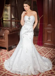 Wedding Dresses - $239.99 - Trumpet/Mermaid Sweetheart Chapel Train Organza Satin Wedding Dress With Ruffle Lace Beading Sequins (002000302) http://jenjenhouse.com/Trumpet-Mermaid-Sweetheart-Chapel-Train-Organza-Satin-Wedding-Dress-With-Ruffle-Lace-Beading-Sequins-002000302-g302