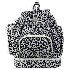 Kalencom Leopard Backpack Diaper Bag - Black and White - 2900LEOPARD-B&W