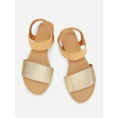 Peep Toe Elastic Flat Sandals