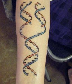 I don't like this actual tattoo, but I love the idea of a DNA tattoo. Maybe black and white.