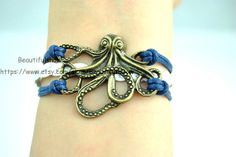 Bronze Octopus Bracelet  Navy  Cord White Leather by BeautifulShow, $3.50