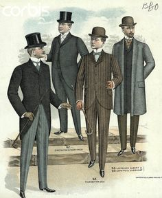 1890 male fashion   Illus/Mens Fashions Of The 1880S-1890S - BE071593 - Rights Managed ...