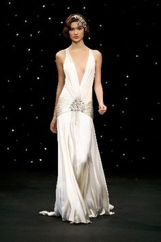1920s style recetion gown. Or Hens night dress. Very old Hollywood glamor.