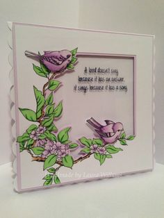 This Gorgeous card was made by Laura Williams using Hobby Arts stamp set Bird Song Garden Birds, Art Cards, Create And Craft, Card Designs, Creative Cards, Clear Stamps, Greeting Cards Handmade, Cardmaking, Birthday Cards