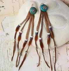 Beaded Leather and Turquoise Earrings, Shoulder Length | OwlHollowStudio - Jewelry on ArtFire