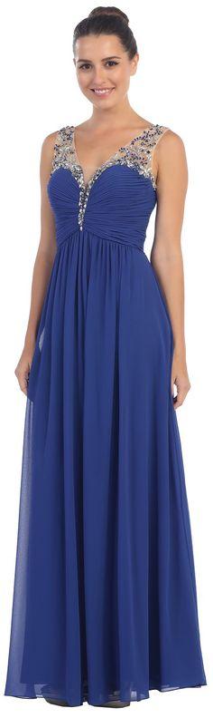 V-Neck Beaded Straps Empire Waist Evening Gown #discountdressshop #vneckdress #empirewaistgown #royalbluedress #formalwear
