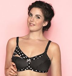 2f7e30809 Anita Nursing Bra 5034 Black Polka Dot Large Cup Sizes Price    49.00 http