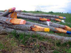 Logs turned giant color pencils by Jonna Pohjalainen - In Turku, Finland