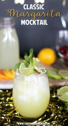 Margarita Mocktail Recipe, Non Alcoholic Margarita, Classic Margarita Recipe, Non Alcoholic Cocktails, Margarita Recipes, Mocktail Drinks, Drink Recipes, Margarita Party, Drinks Alcohol