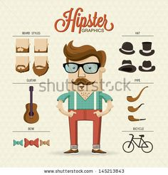 Hipster character illustration with hipster elements and icons - stock vector
