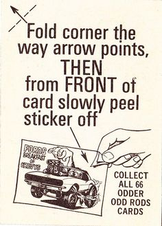 Odd Rods trading cards: card back
